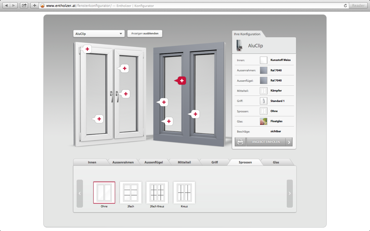 Entholzer configurator database for House configurator