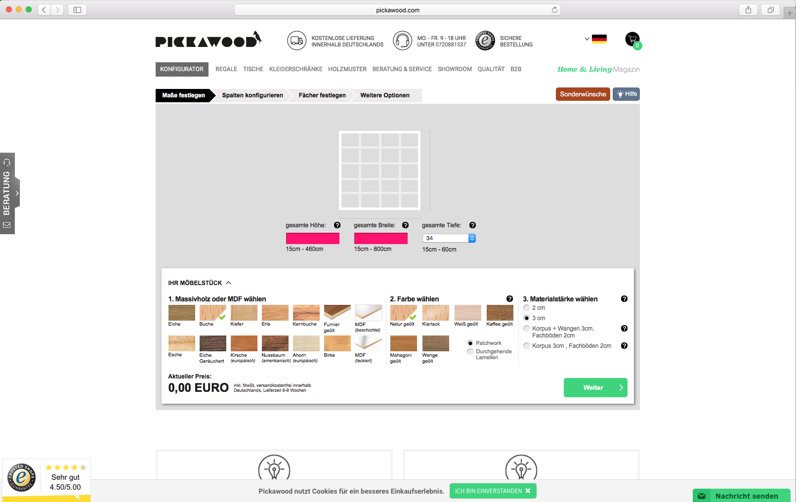 Pickawood configurator database for House configurator