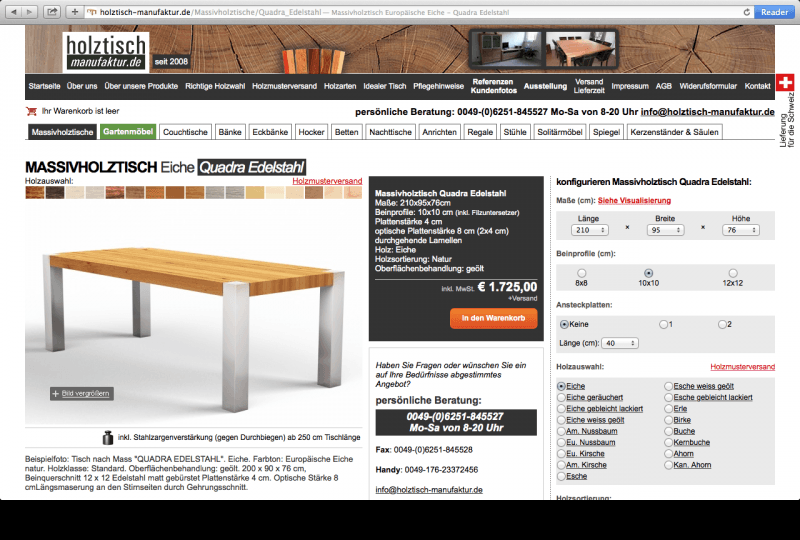 holztisch configurator database. Black Bedroom Furniture Sets. Home Design Ideas